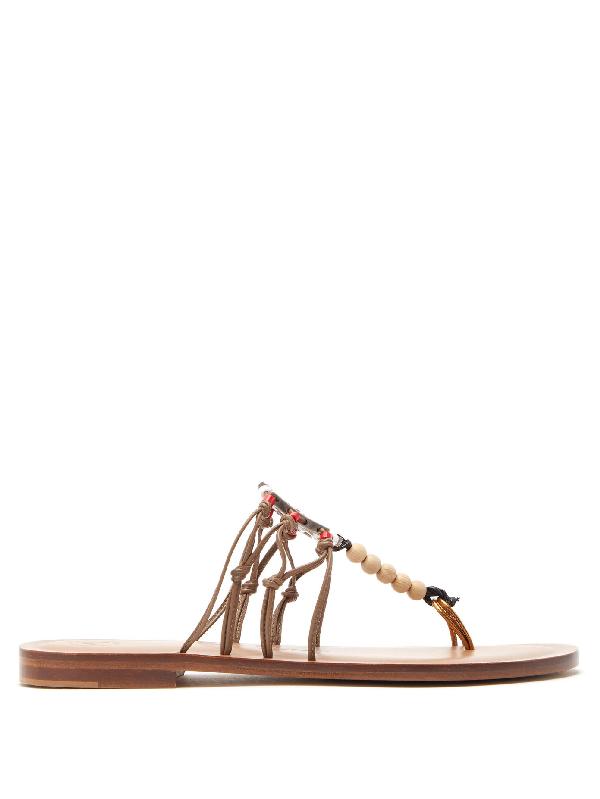 Álvaro González X Kim Hersov Kima Leather Sandals In Tan