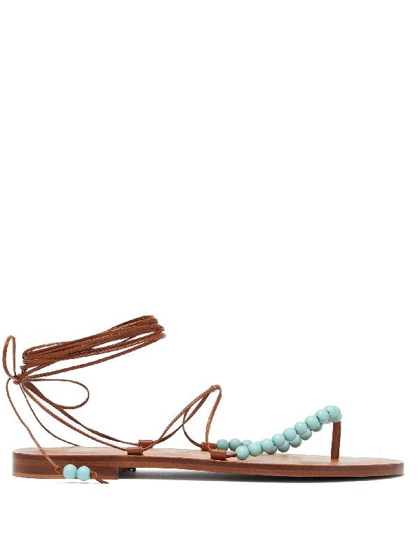 Álvaro González X Kim Hersov Kaiah Beaded Leather Sandals In Tan Multi