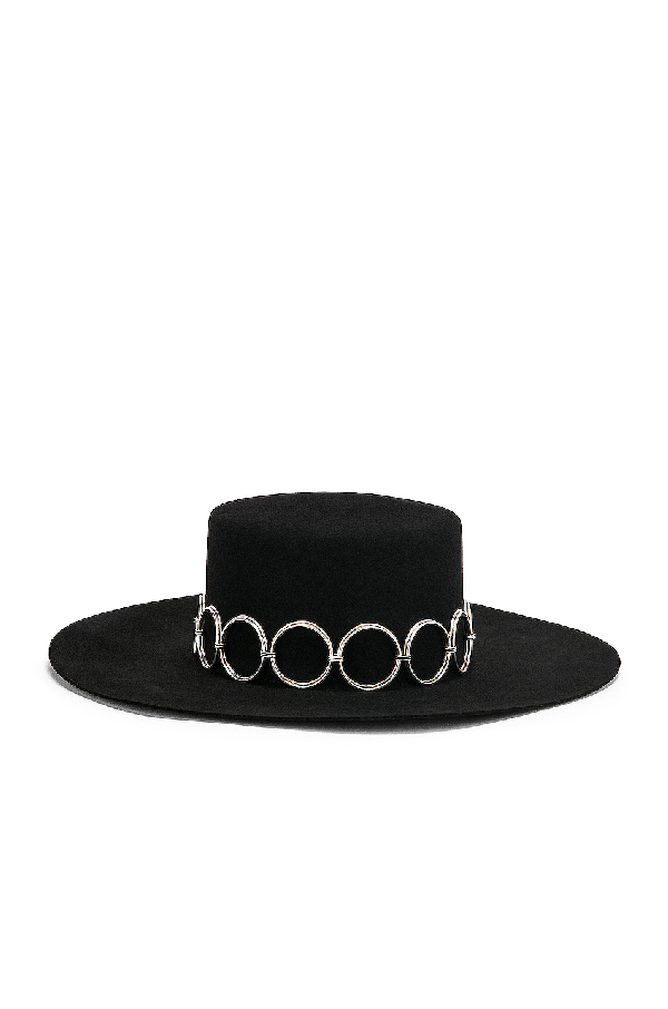 Saint Laurent Andalusian Hat In Felt In Black & Silver