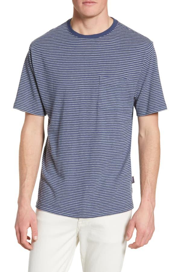 Patagonia Trail Harbor Stripe Pocket T-Shirt In Long Plains Big/ Dolomite Blue