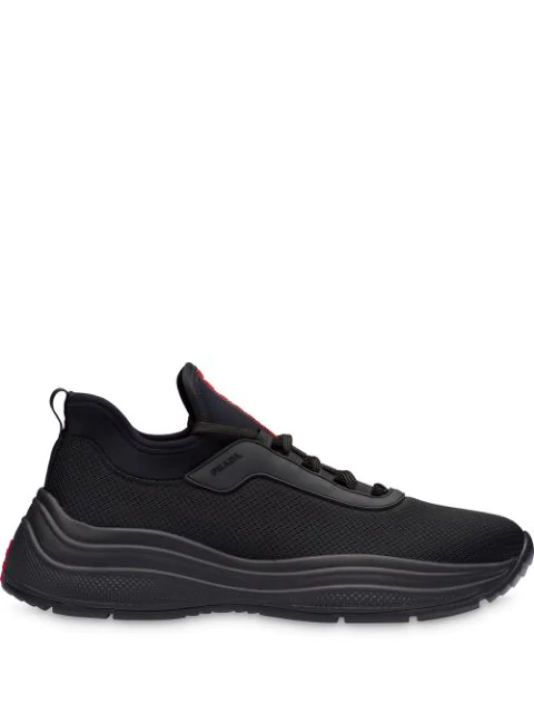 Prada America's Cup Leather-trimmed Mesh Sneakers In F0002 Black