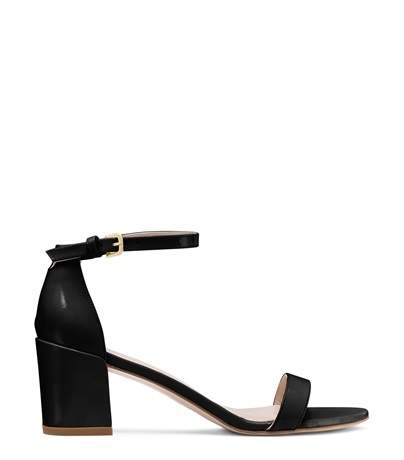 Stuart Weitzman Simple Textured-leather Sandals In Black