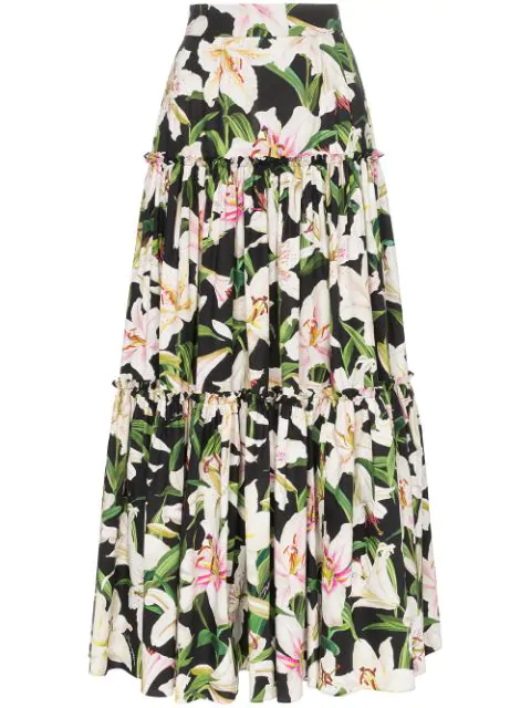 Dolce & Gabbana Tiered Floral-print Cotton-poplin Maxi Skirt In Black