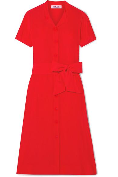 Diane Von Furstenberg Addilyn Silk Crepe De Chine Midi Dress In Red