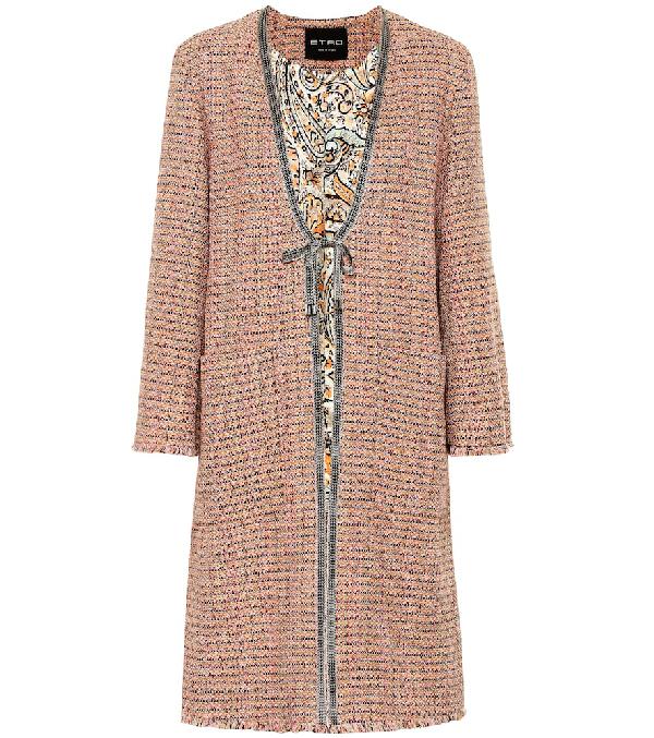 Etro Cotton-blend Tweed Coat In Pink
