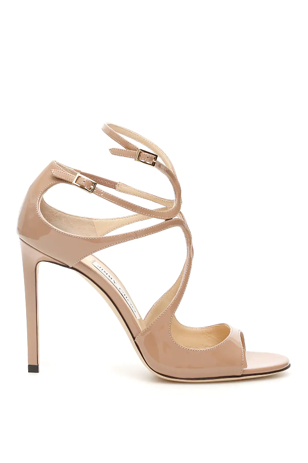 Jimmy Choo Patent Lang Sandals In Pink,beige