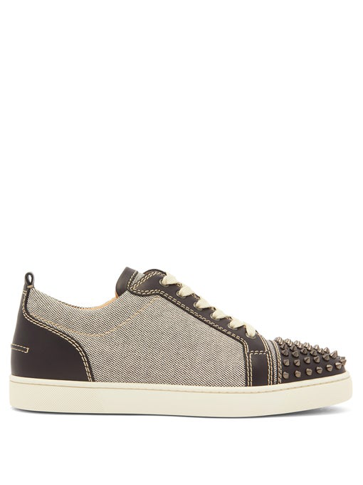 designer fashion 7fce3 35200 Louis Junior Spike Embellished Leather Trainers in Black