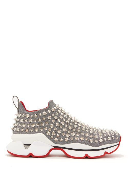 6d7f86ef3d5 Spiky Sock Donna Flat Red Sole Sneakers in Silver