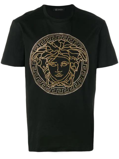 Versace Medusa Head-embellished Cotton T-shirt In Black
