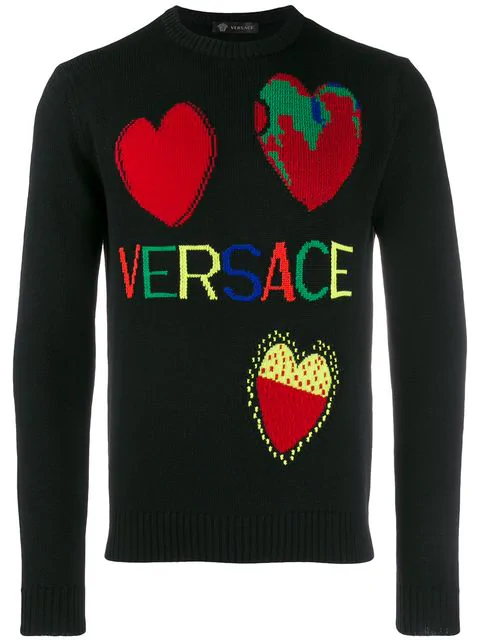 Versace Intarsia Hearts Wool Knit Sweater In Black