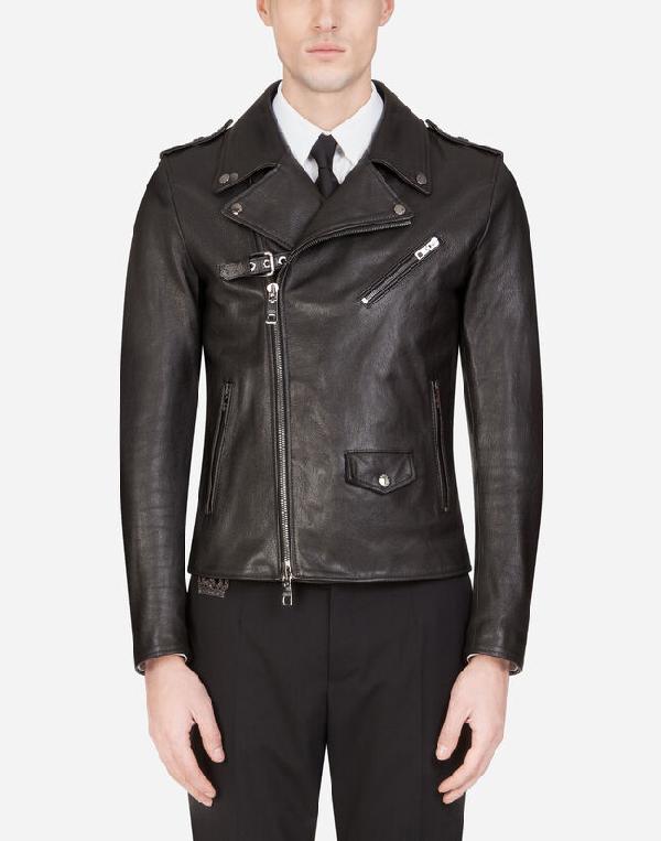 Dolce & Gabbana Leather Biker Jacket In N0000  Black