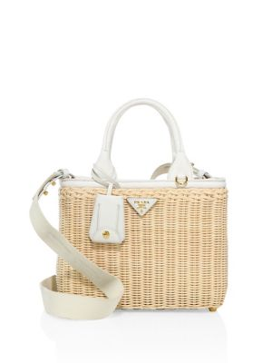 87f6880924cc Prada Midollino Small Leather-Trimmed Canvas And Wicker Tote In Bianco