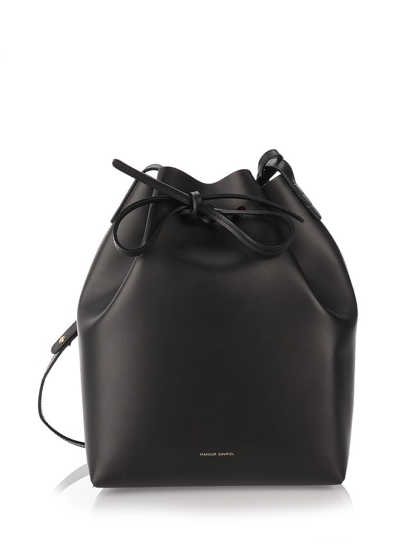 Mansur Gavriel Mini Mini Leather Bucket Bag In Black