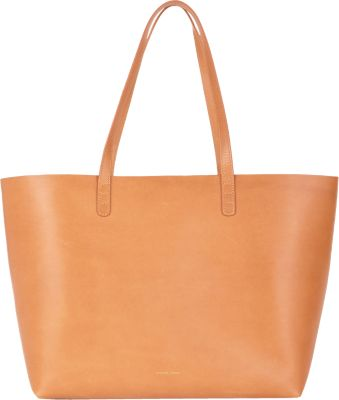 Mansur Gavriel Large Orange-Lined Leather Tote In Nude