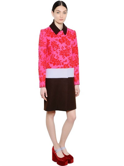 Mary Katrantzou Floral-Velvet Wool Combo Coat In Multicolored