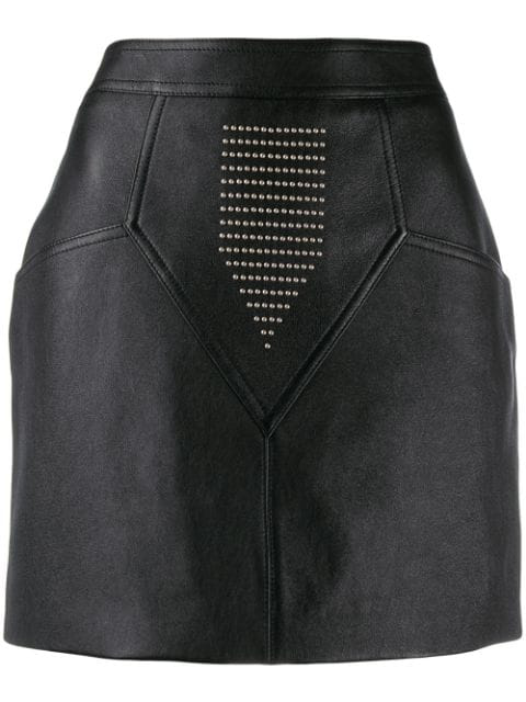 Saint Laurent Skirt In Shiny Lambskin Embroidered With Studs In Black
