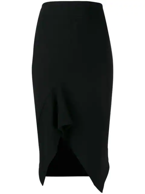 Tom Ford Stretch Wool Fluted Skirt In Black
