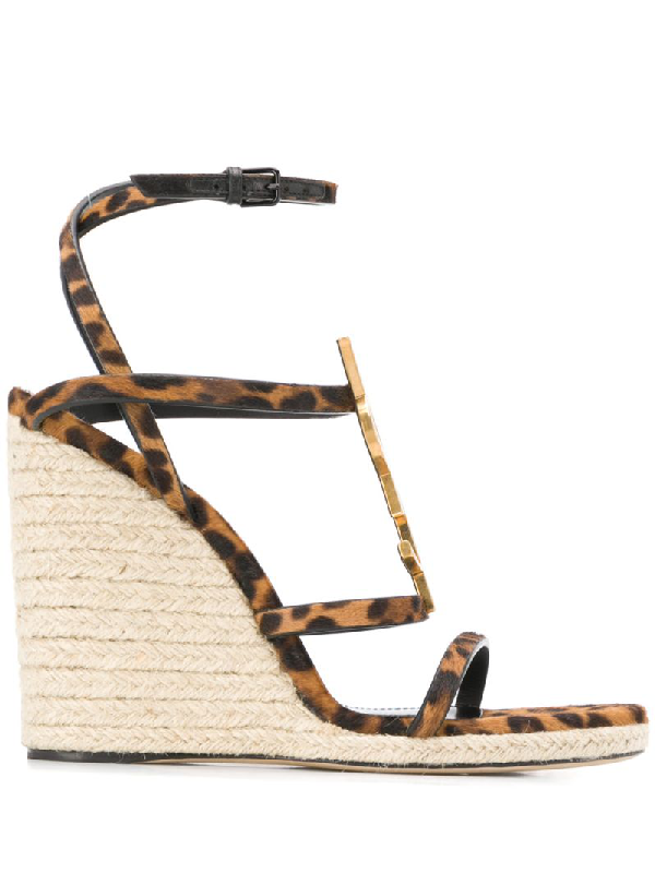 d3d8a3ab3b Cassandra Wedge Espadrilles In Leopard Printed Pony Effect Leather And  Bronze Logo in Neutrals