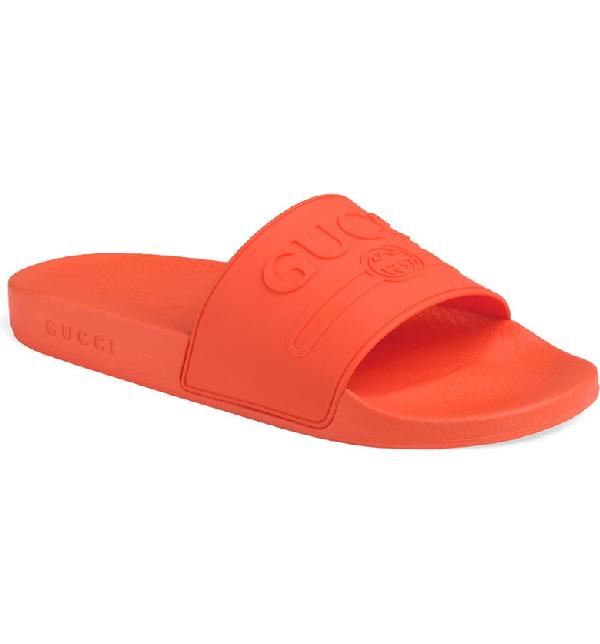 Gucci Men's Embossed Logo Slide Sandals In Arancio Orange