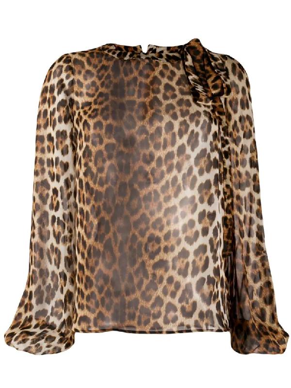 N°21 Leopard Silk Blouson-Sleeve Neck-Tie Blouse In Brown