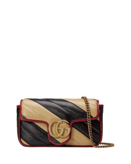 Gucci Gg Marmont Striped Crossbody Bag In Black/White
