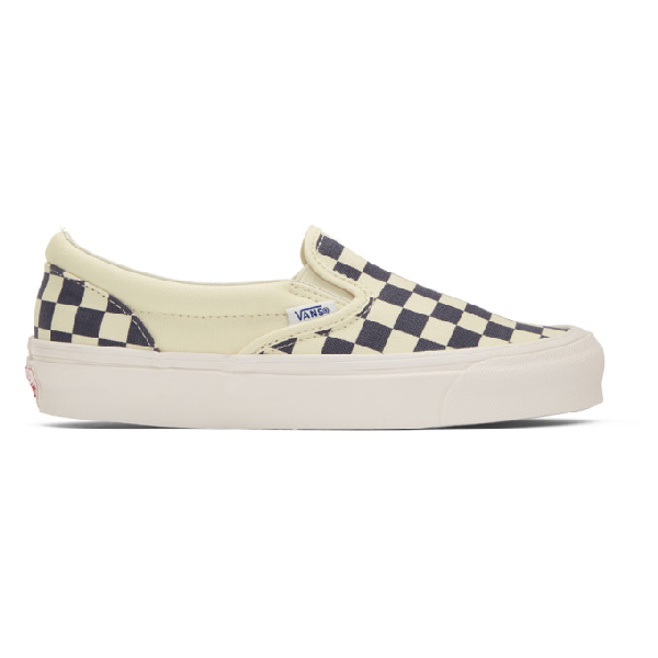 Vans Black & White Og Checkerboard Classic Slip-On Sneakers In Navy