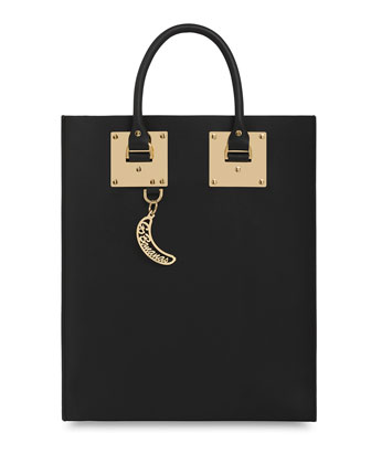 Sophie Hulme Leather Tote Bag With Whistle Charm, Black