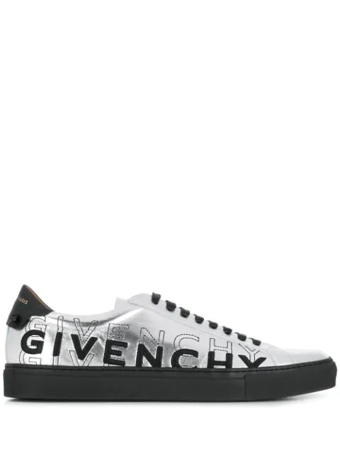 Givenchy Men's Urban Street Metallic Logo Sneakers In Silver