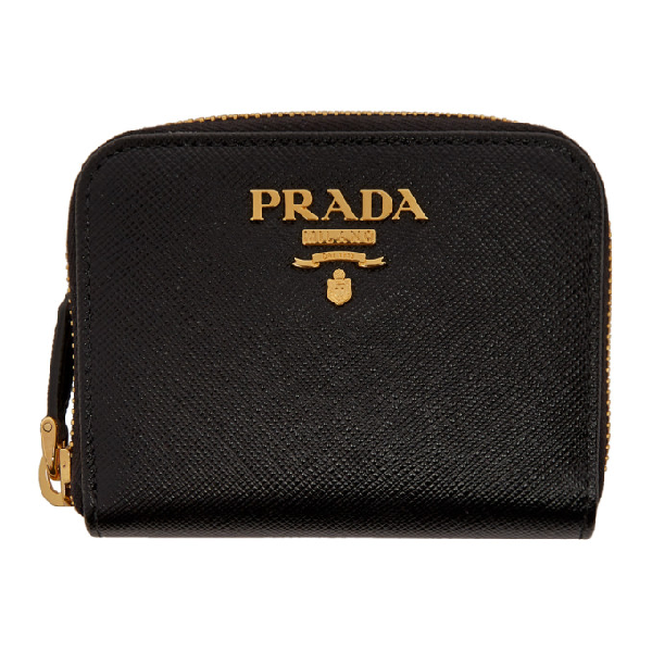 Prada Black Mini Zip Around Wallet