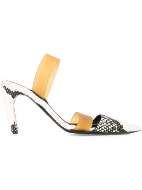 Proenza Schouler Python Embossed Slingback Pumps In Black