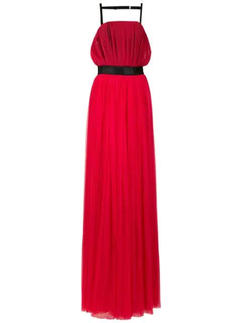 À La Garçonne Belted Long Dress In Red