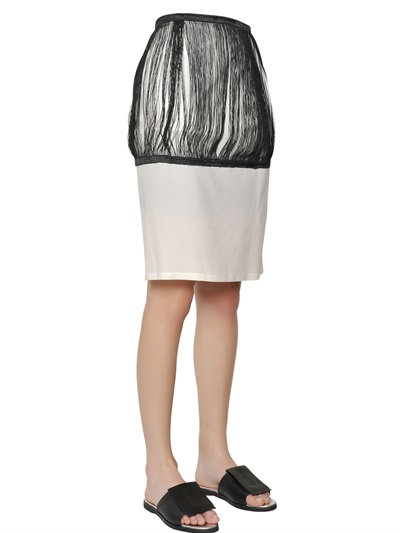 J.W.Anderson Silk & Cotton Twill Fringed Pencil Skirt In Black/White