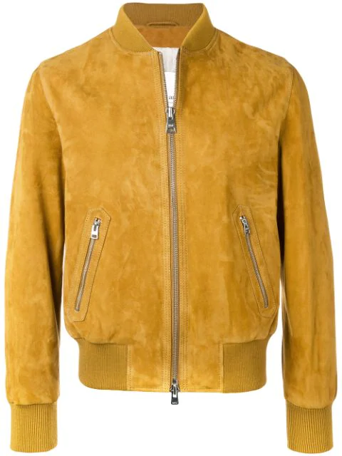 Ami Alexandre Mattiussi Zipped Suede Jacket With Ribbed Waist And Cuffs In 298 Bronze