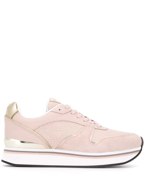 Emporio Armani Lace-up Sneakers In Pink