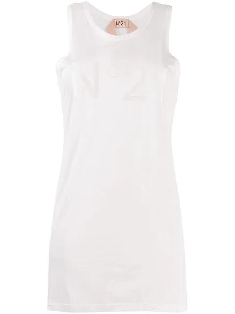 N°21 Logo Vest Top In White