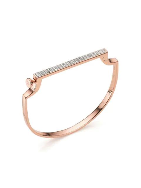 Monica Vinader Rose Gold Vermeil Signature Thin Diamond Bangle
