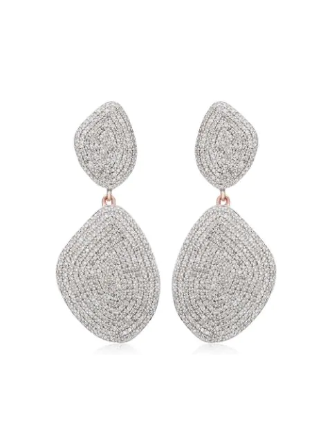 Monica Vinader Nura Double Teardrop 18Ct Rose-Gold And Diamond Earrings In Metallic