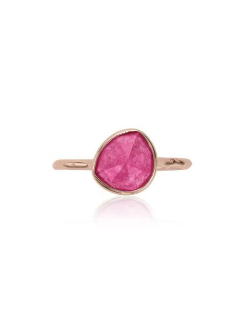 Monica Vinader Siren Stacking Pink Quartz Ring In Gold