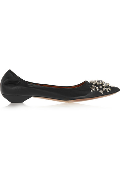 Lanvin Woman Crystal-Embellished Leather Point-Toe Flats Black
