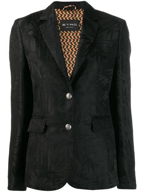 Etro Jacquard Blazer In Black