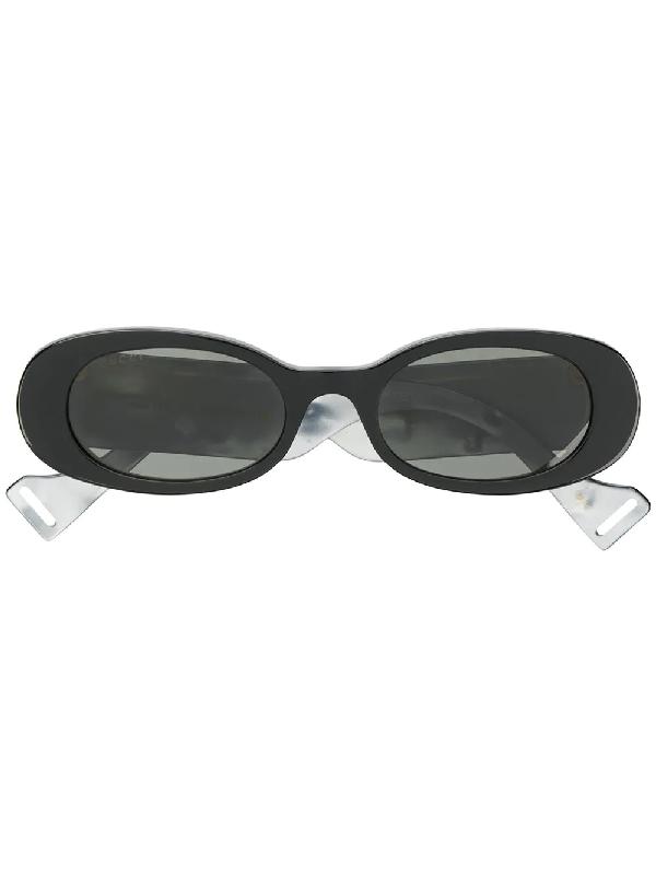 Gucci Black Round Mirrored Sunglasses In 001 Black