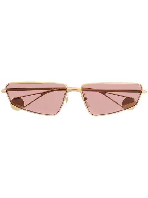 Gucci Eyewear Curved Rectangular Sunglasses - Gold