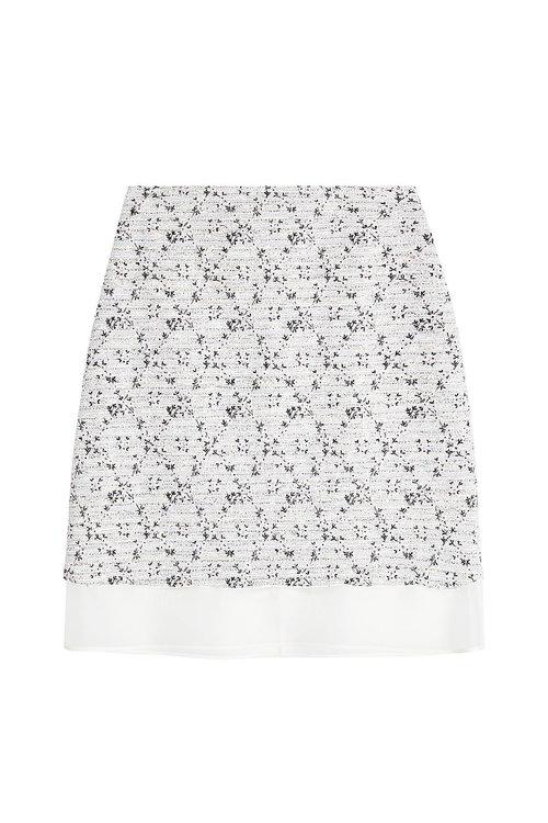 Giambattista Valli Embroidered Skirt With Chiffon Hem In Florals