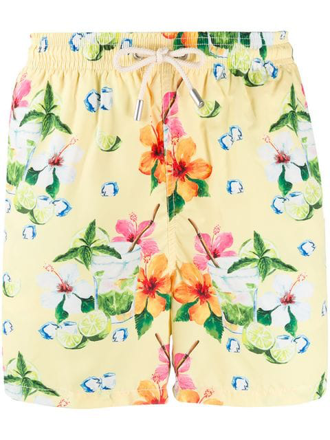 Mc2 Saint Barth Ultralight Floral Print Swim Shorts In Yellow