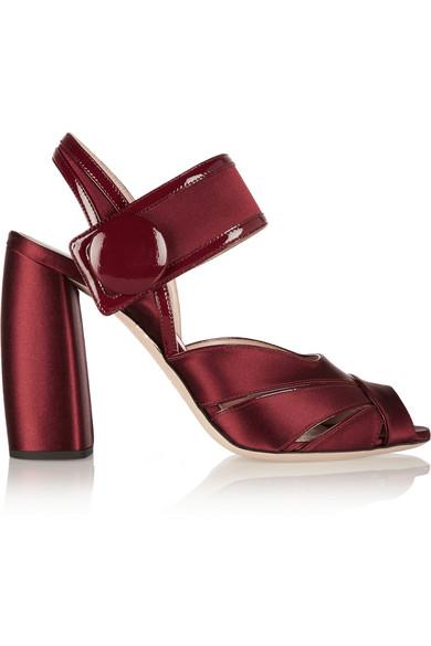 Miu Miu Patent Leather-Trimmed Satin Sandals In Burgundy