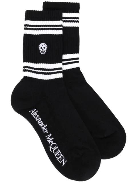 Alexander Mcqueen Stripes And Skull Socks In Black