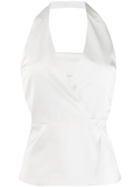 Blanca Slim-fit Halterneck Top In White