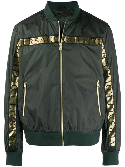 cefdbcea Versace Collection Logo Tape Bomber Jacket - Green | ModeSens