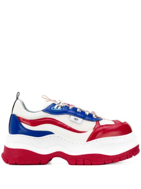 Chiara Ferragni Panelled Platform Sneakers In White