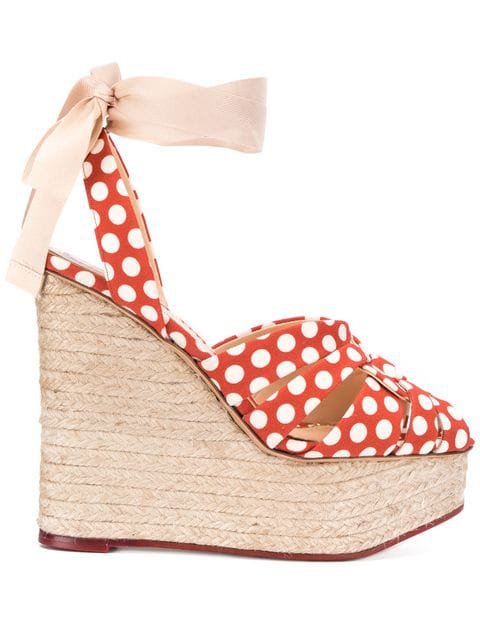 Charlotte Olympia Polka Dot High Heel Wedges In Red